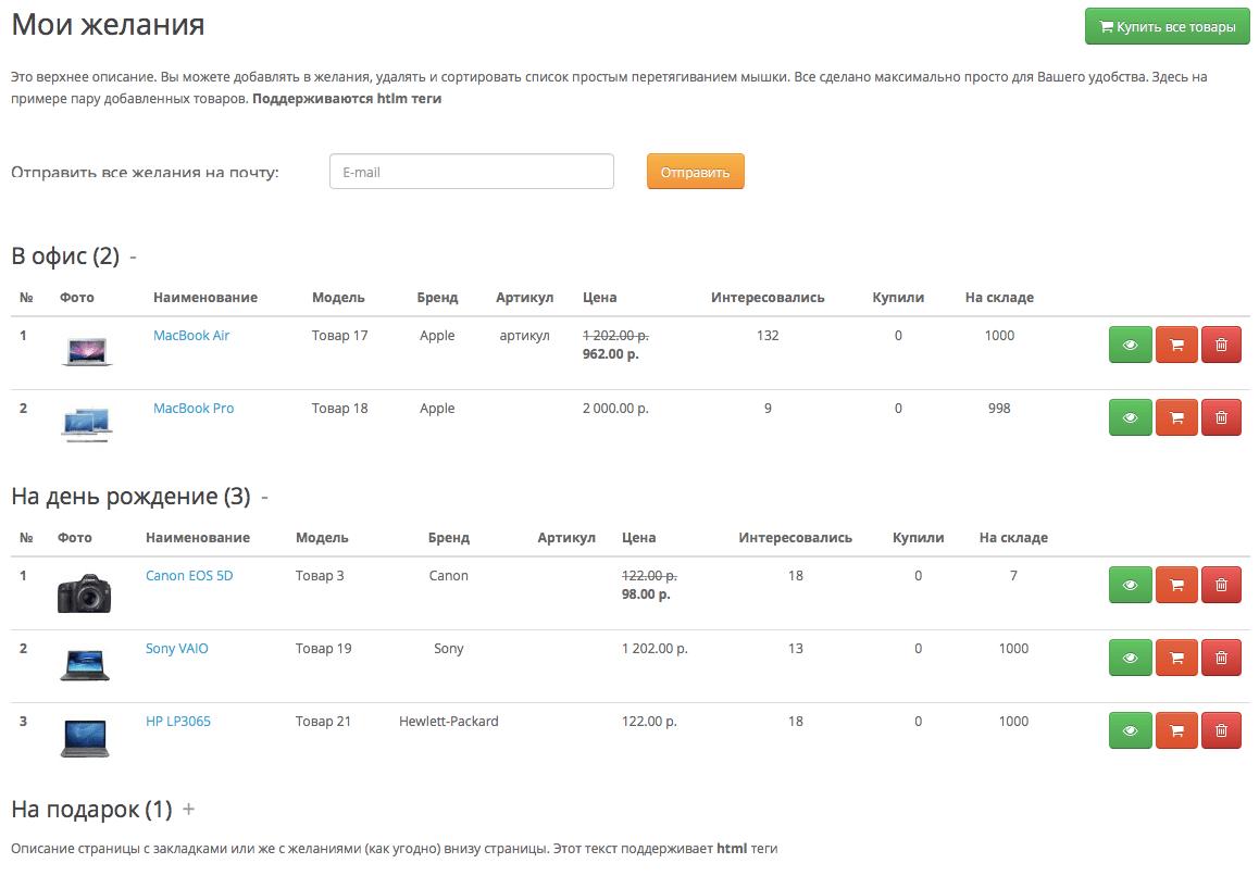 WishlistPro - расширенный список закладок на сайте
